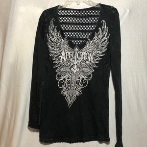 Affliction Rein-stone Bling Long Sleeve Top